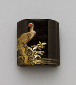 Large four-case inro with pheasant
