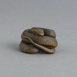 Wood netsuke of a snake