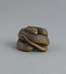 Wood netsuke of a snake
