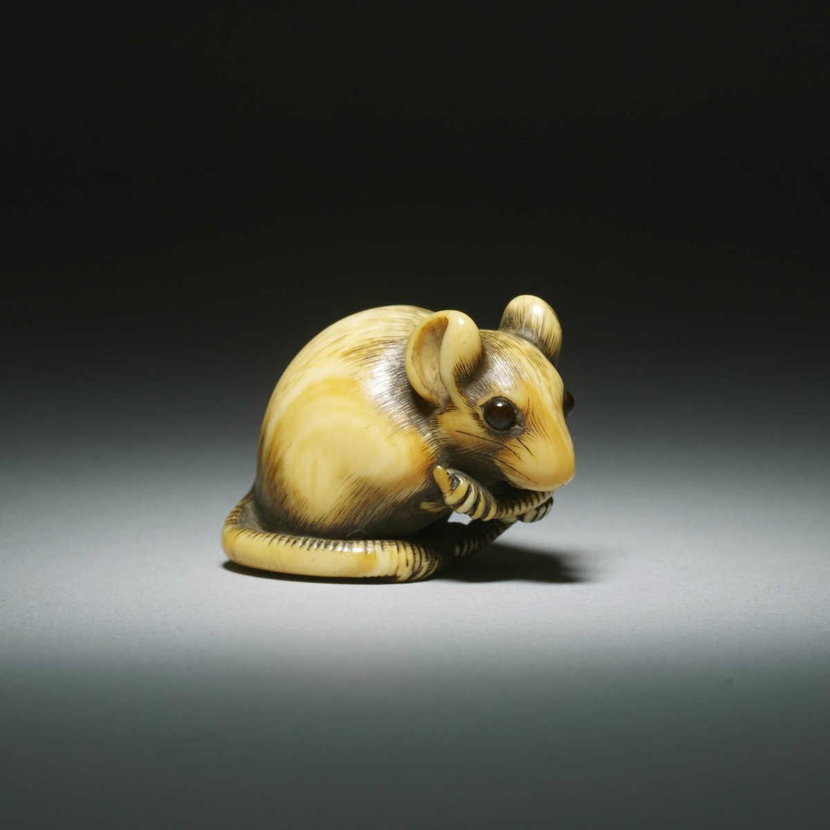 Masano of Kyoto Ivory Netsuke of a male rat