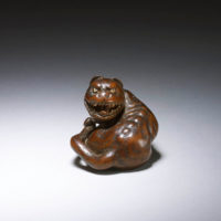 Antique Netsuke - Wood Tiger-mr1919