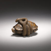 Japanese Netsuke - Wood Turtle and Snake-netsuke-mr2408