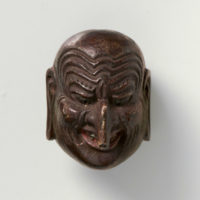 Tetsuro-Lacquered wood-Mask netsuke-Churo-mr2313