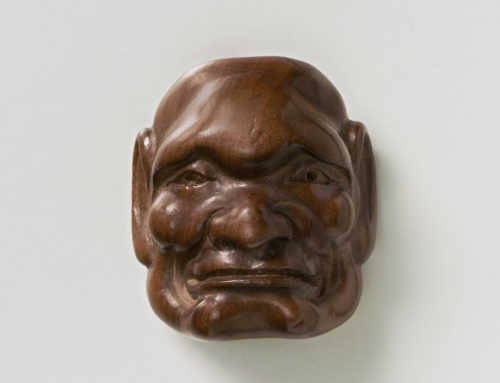 Boxwood Mask Netsuke of a Morose Man