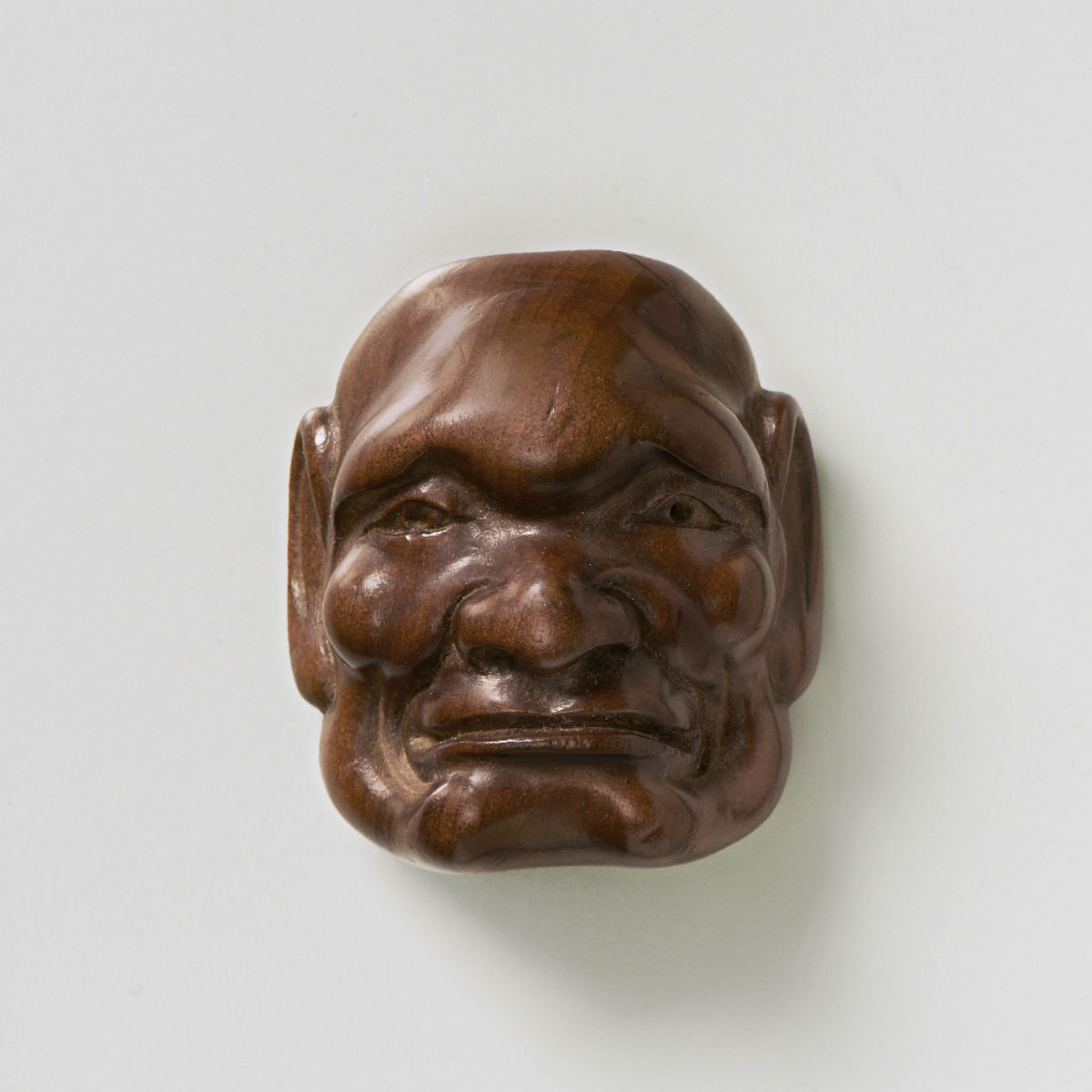 Boxwood Mask Netsuke-Morose Man-mr2418