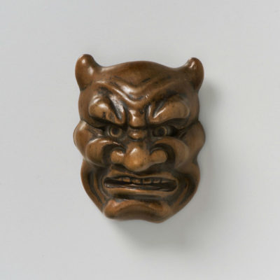 Boxwood Mask Netsuke-Oni-mr2373