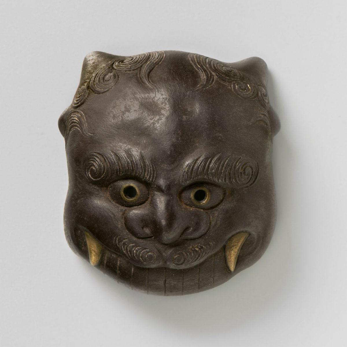 Iron Mask netsuke-Oni Haruaki Shunmei-mr2377