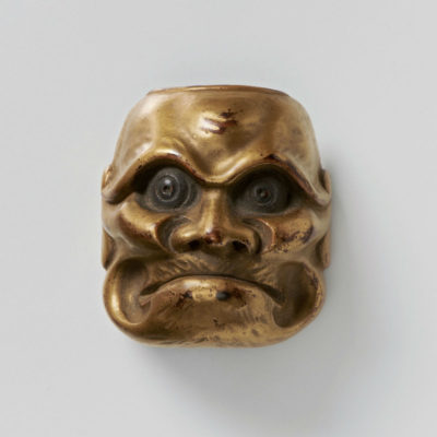 Lacquered wood-mask netsuke-Aged-Beshimi-massaharu-mr2345