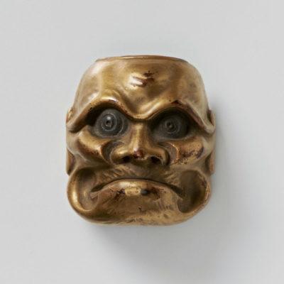 Lacquered wood-mask netsuke-Aged-Beshimi-massaharu-mr2345