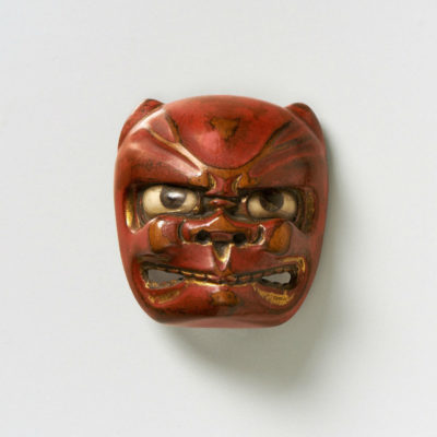 Lacquered wood-mask netsuke-demon-mr2383