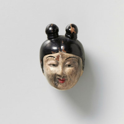 Lacquered wood-mask netsuke-Gojo Kano Tessai-mr2323