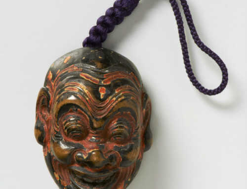 Shoka | Lacquered Wood Mask Netsuke of Heishitori