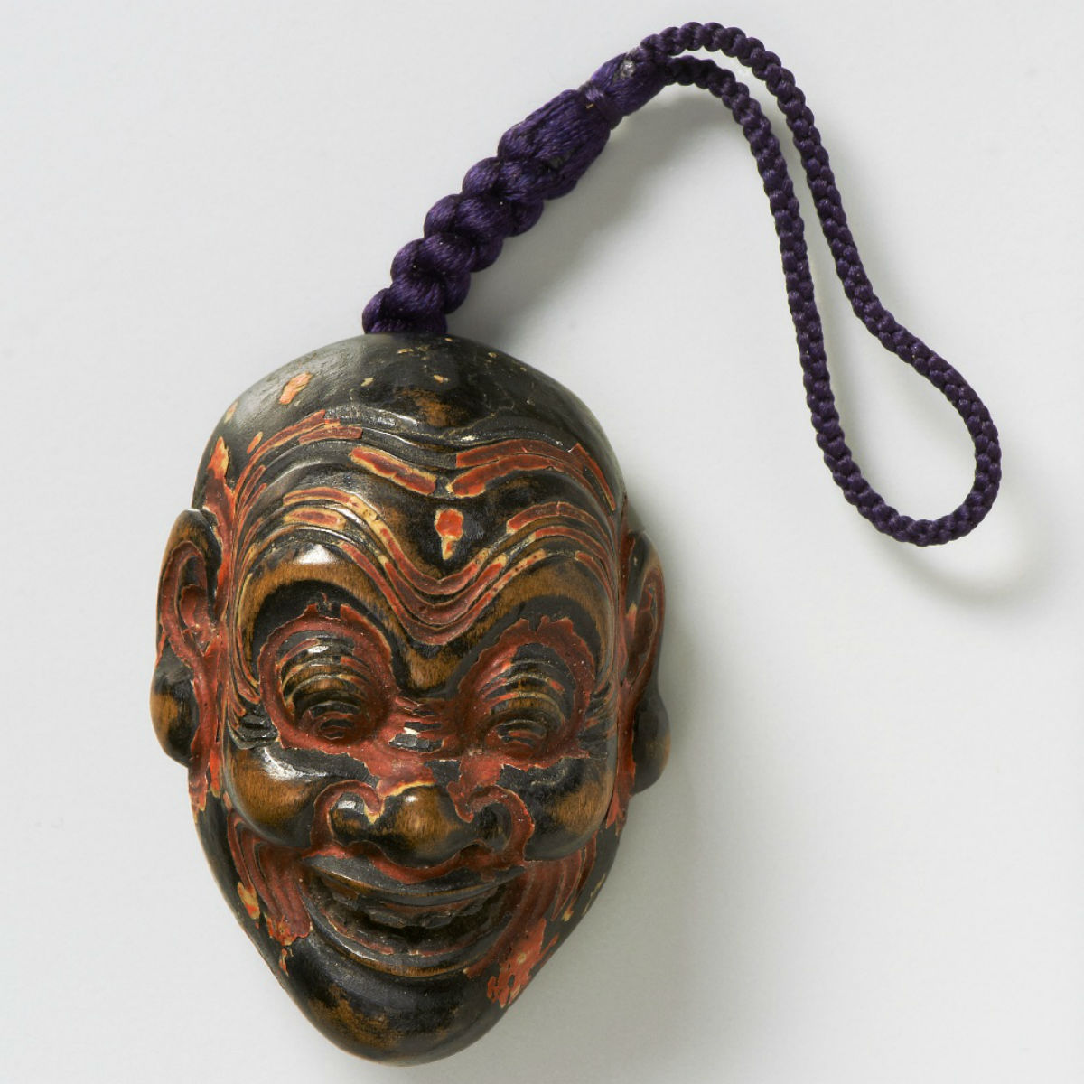 Lacquered wood-mask netsuke-Heishitori-shoka-mr2321