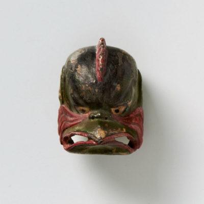 Lacquered wood-mask netsuke-Karura-mr2314