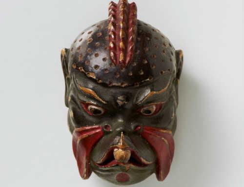 Kano Tessai | Lacquered Wood Mask Netsuke of Karura (Garuda)
