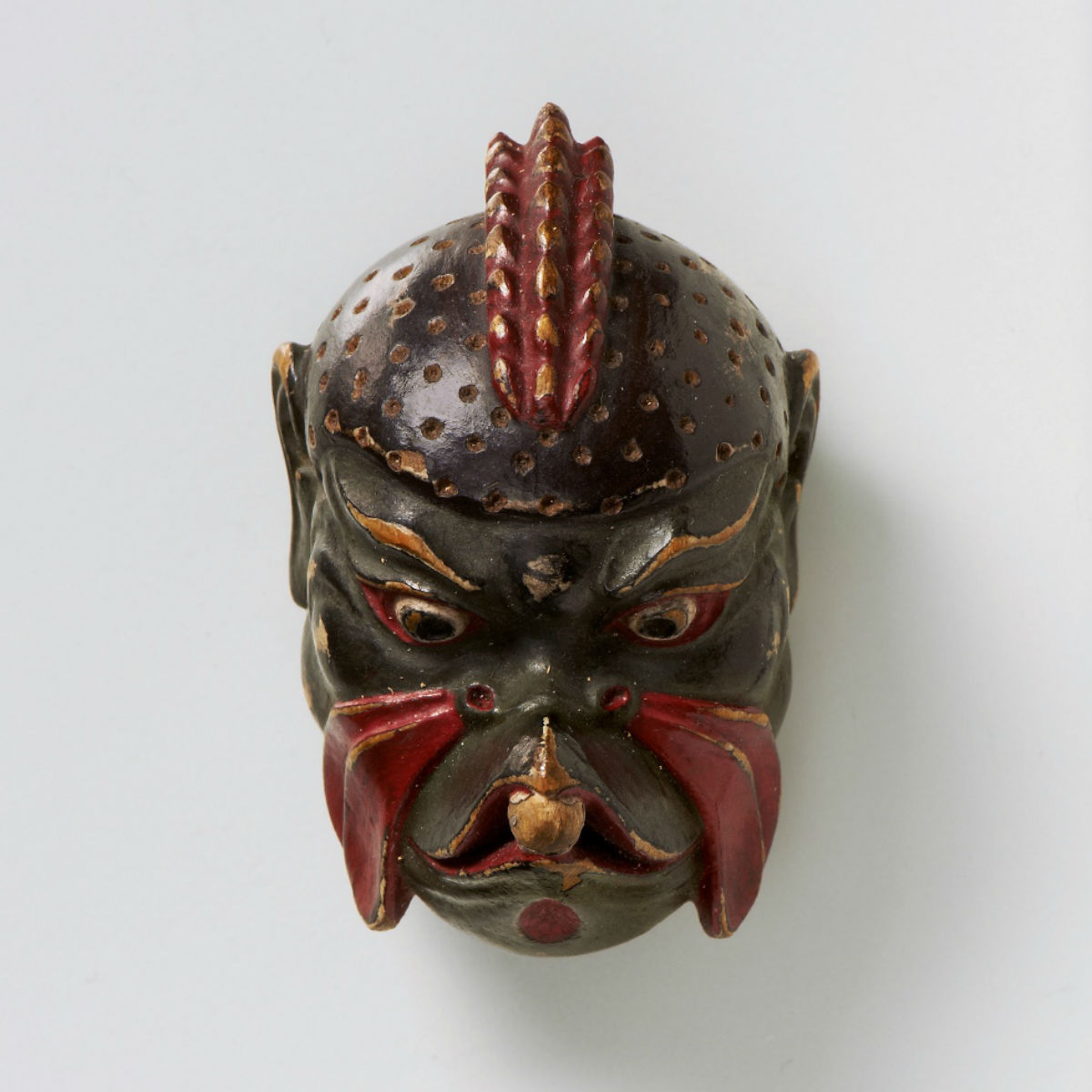 Lacquered wood mask netsuke-Karura-mr2436