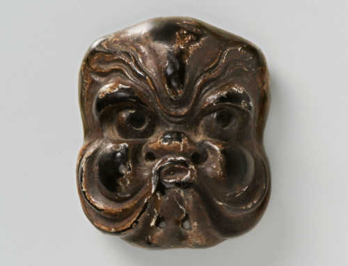 Lacquered Wood Mask Netsuke of an Octopus