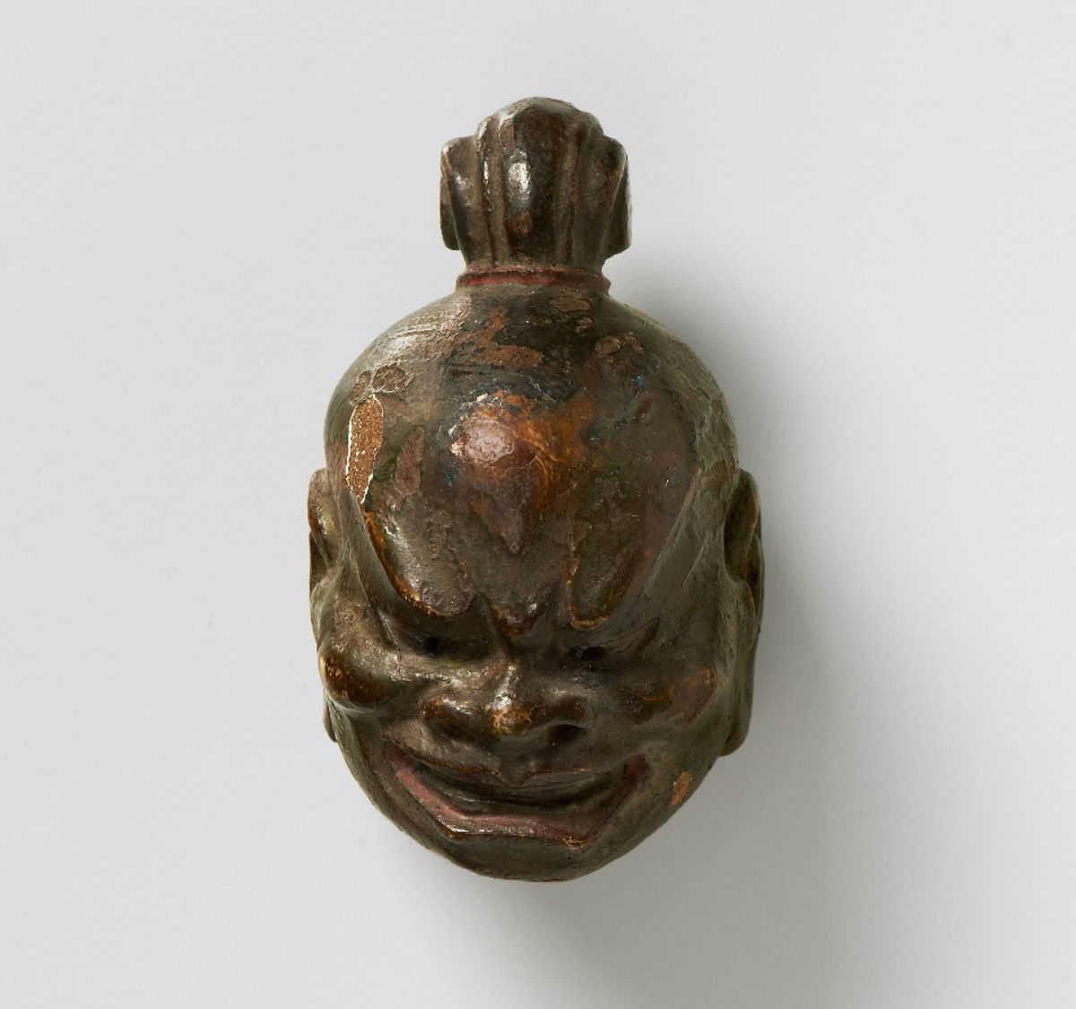 Lacquered wood mask netsuke-Kongo-Rikishi-kano-tessai-mr2320