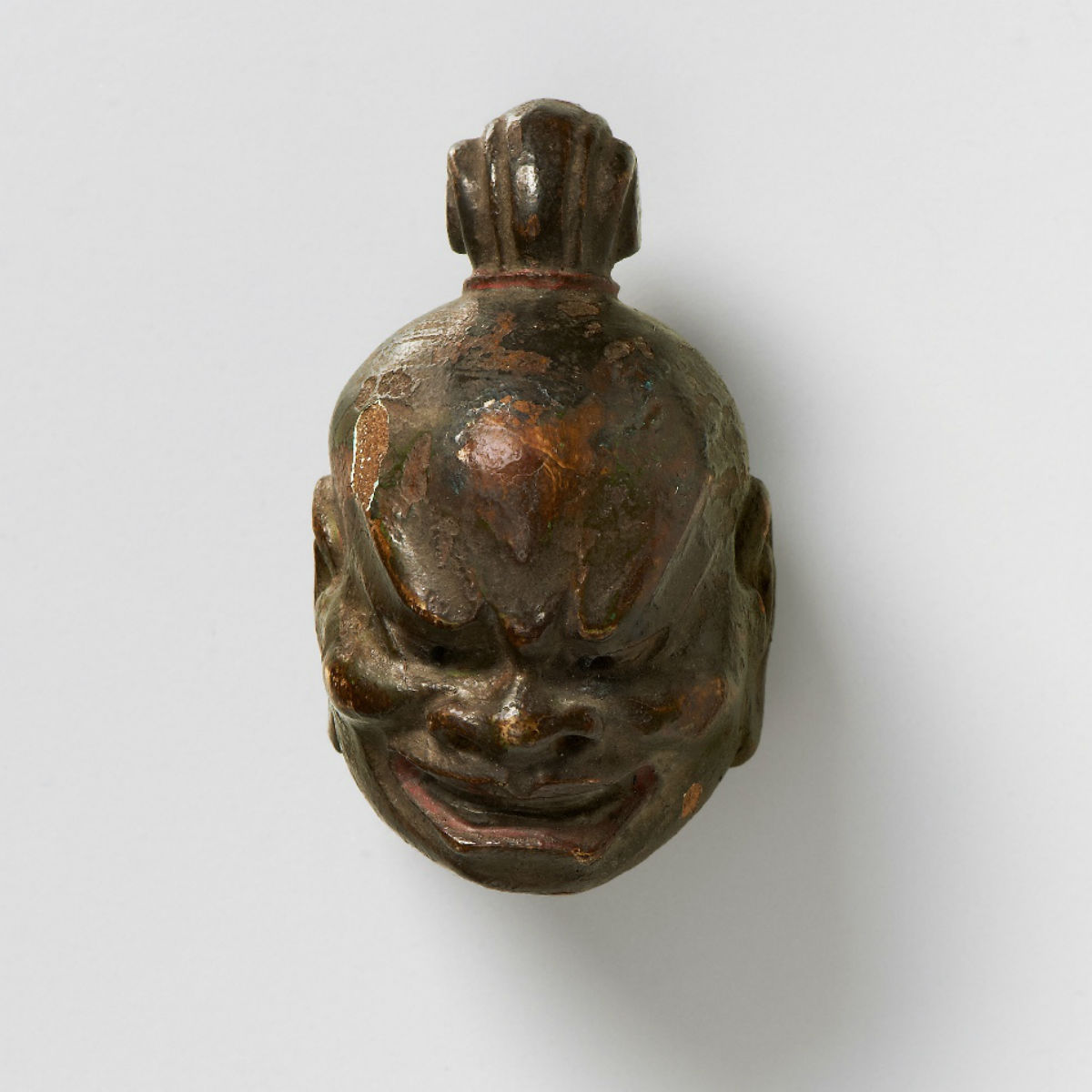 Lacquered wood mask netsuke-Kongo-Rikishi-kano-tessai-mr2320