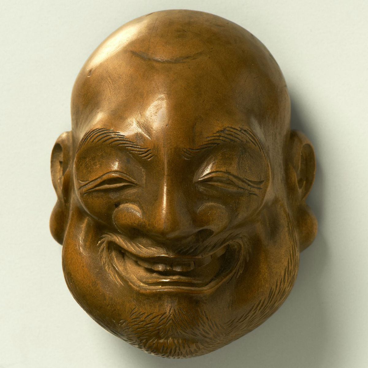 Boxwood Netsuke-laughing man-Gyoko Mitsuyoshi-mr2318