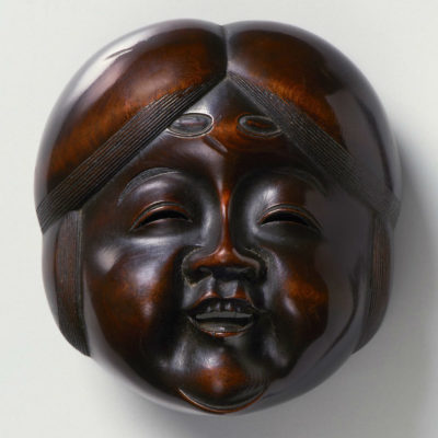 Large wood-Mask Netsuke-Okame Hara Shumin-mr2372