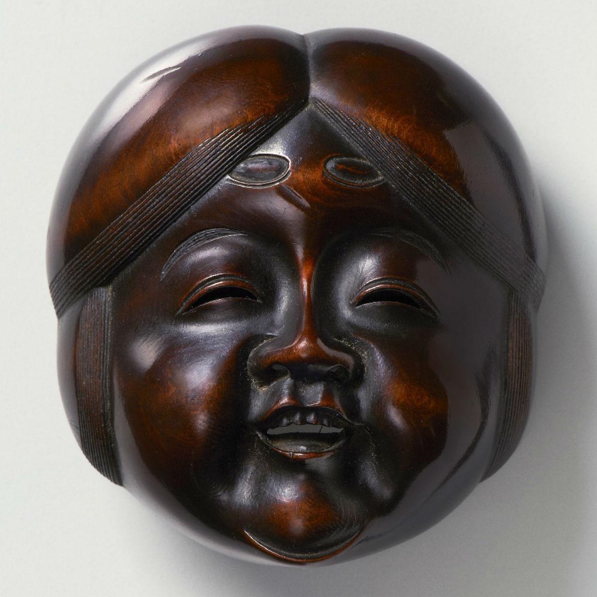 Large wood-Mask Netsuke-Okame Hara Shumin-mr2372
