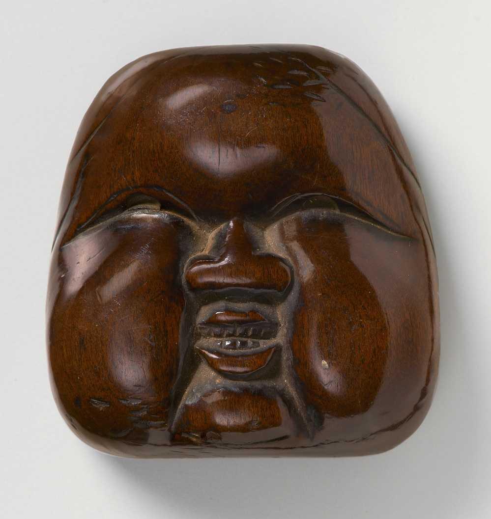 Large Wood Mask Netsuke of Oto