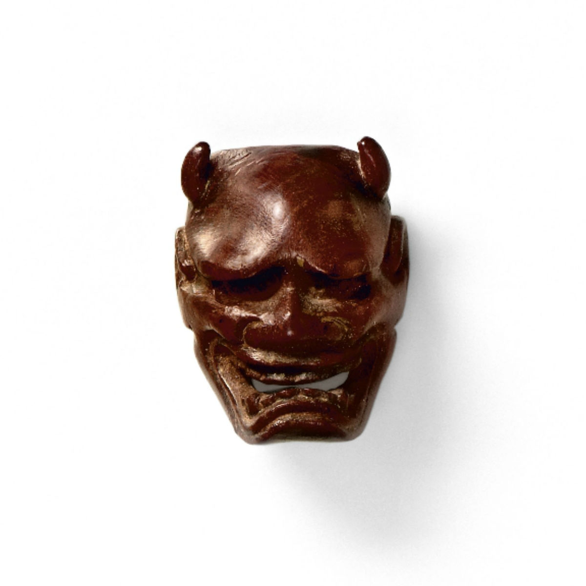 Small Wood Mask Netsuke-Namanari Deme Uman-mr2332