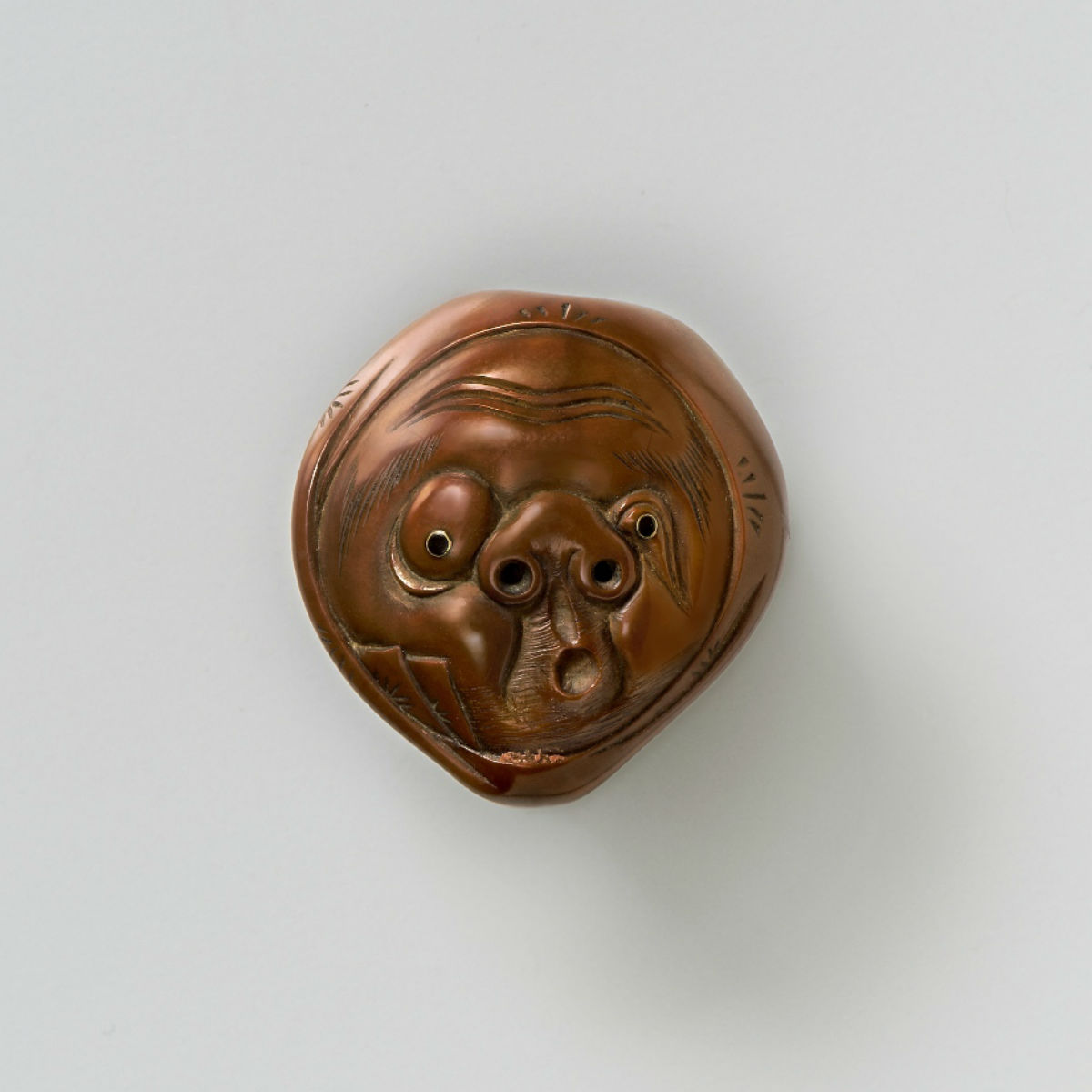 Walnut Wood- Mask Netsuke-Usobuki-mr2391