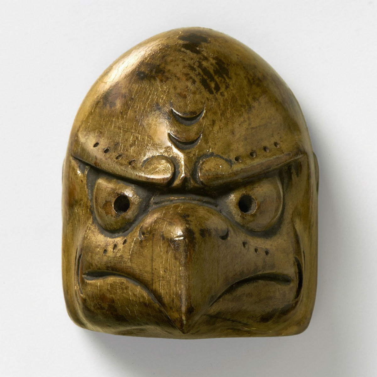 Wood Mask Netsuke-Karasu Tengu-mr2385