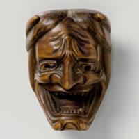 Wood Mask Netsuke-Namanari-kimichika-mr2337