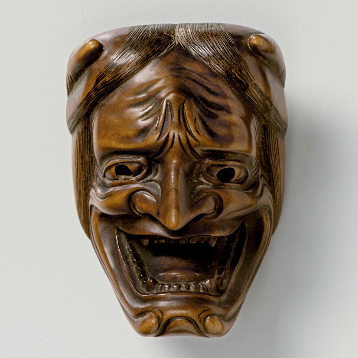 Wood Mask Netsuke-Namanari-kimichika-mr2337