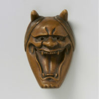 Wood Mask Netsuke-Namanari-mr2333