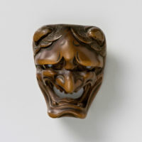 Wood Mask Netsuke-Namanari-mr2338
