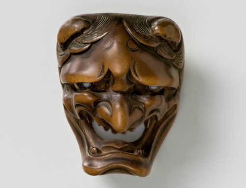Wood Mask Netsuke of Namanari