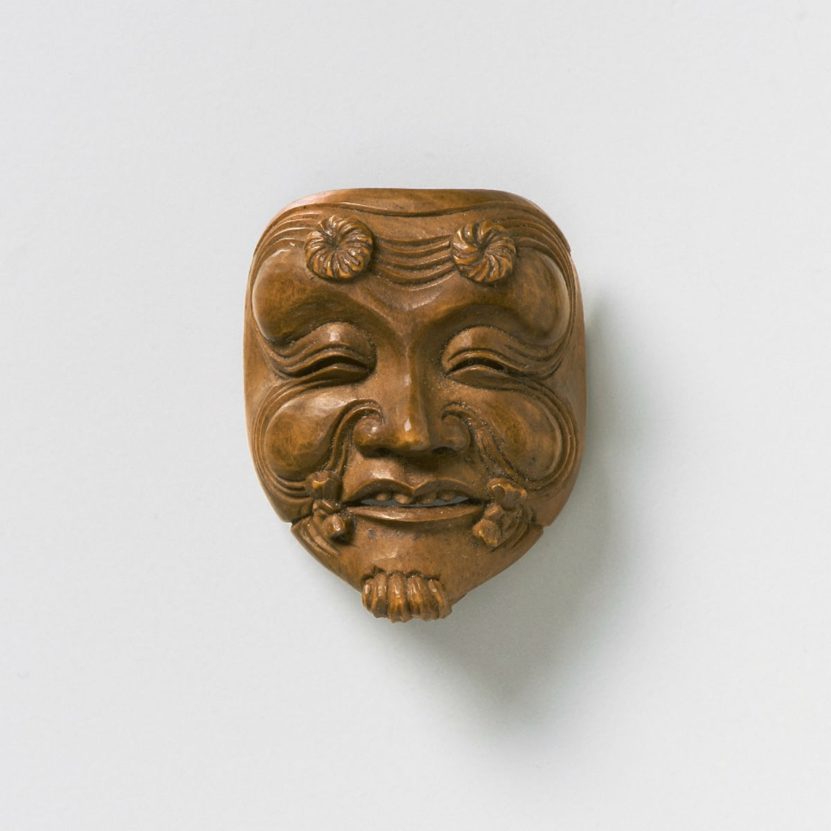 Wood Mask Netsuke-Okina Kano Tessai-mr2325