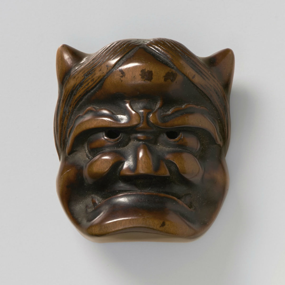 Wood Mask Netsuke-Oni Shuzan-mr2376