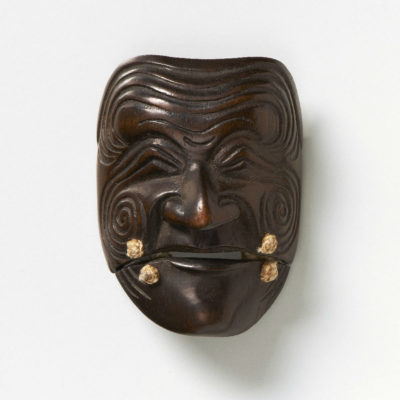 Wood Mask Netsuke Sanka-Jo-Deme-family-mr2326