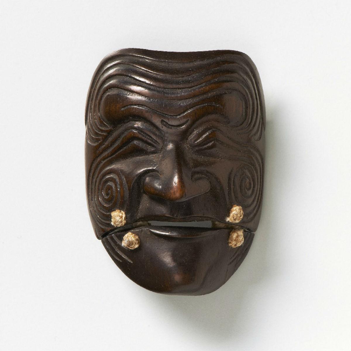 Wood Mask Netsuke Sanka-Jo-Deme-family-mr2326