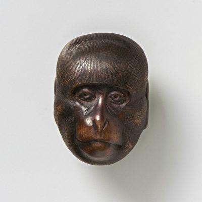 Wood Mask Netsuke - Saru-mr2354