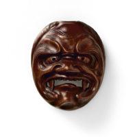 Wood-Mask Netsuke-Shikami Ryuzan-mr2348