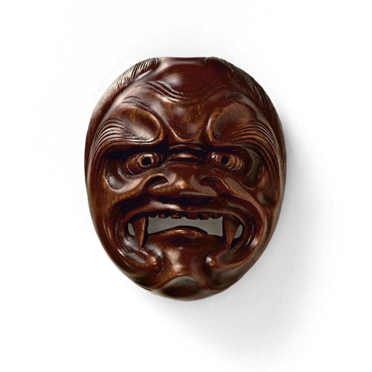 Wood-Mask Netsuke-Shikami Ryuzan-mr2348
