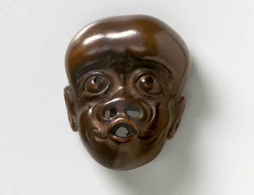 Wood Mask Netsuke of a Simian Man