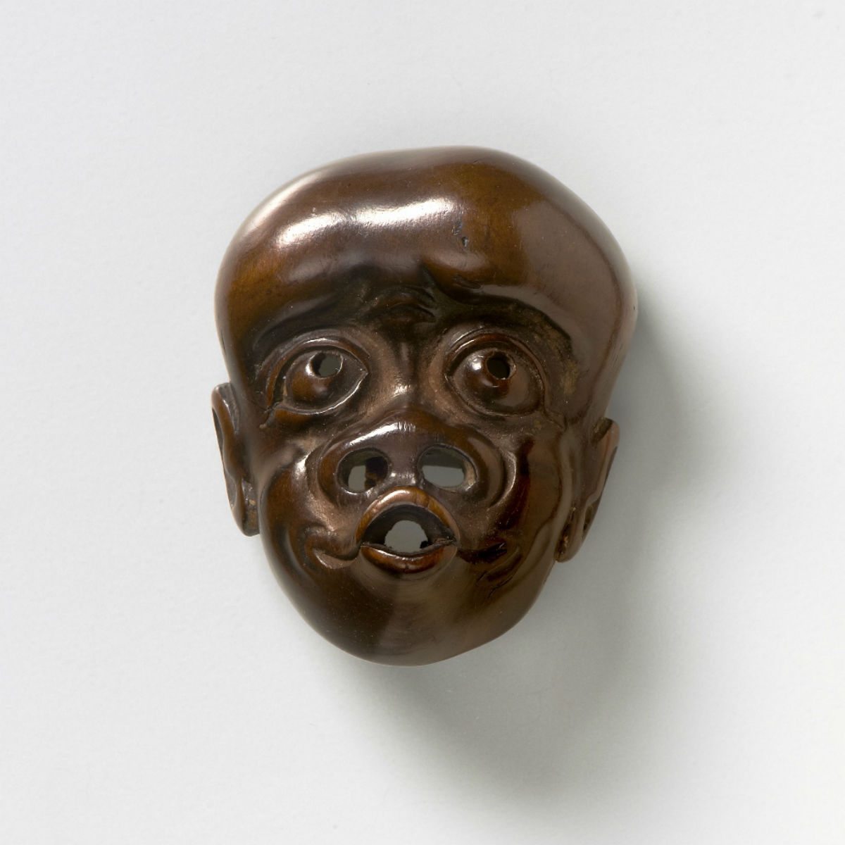 Wood Mask Netsuke - Simian Man