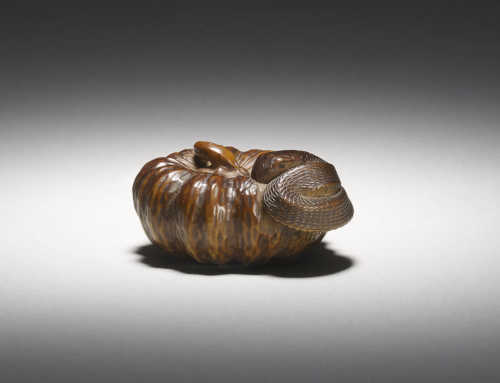Tadakuni | Wood Netsuke of a Snake in a Pumpkin