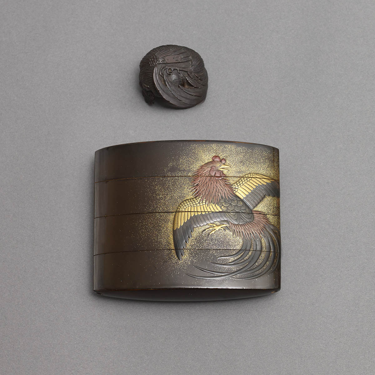 Lacquer Fighting Cocks Inro - back view