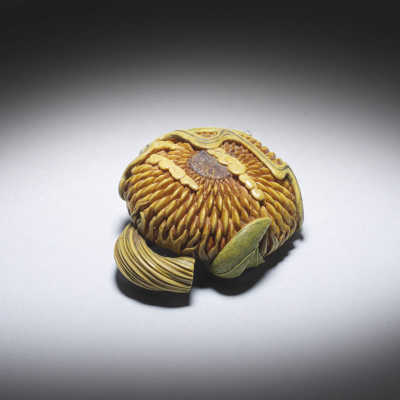 Guy Shaw, 'Arabesque', a boxwood netsuke of a sunflower