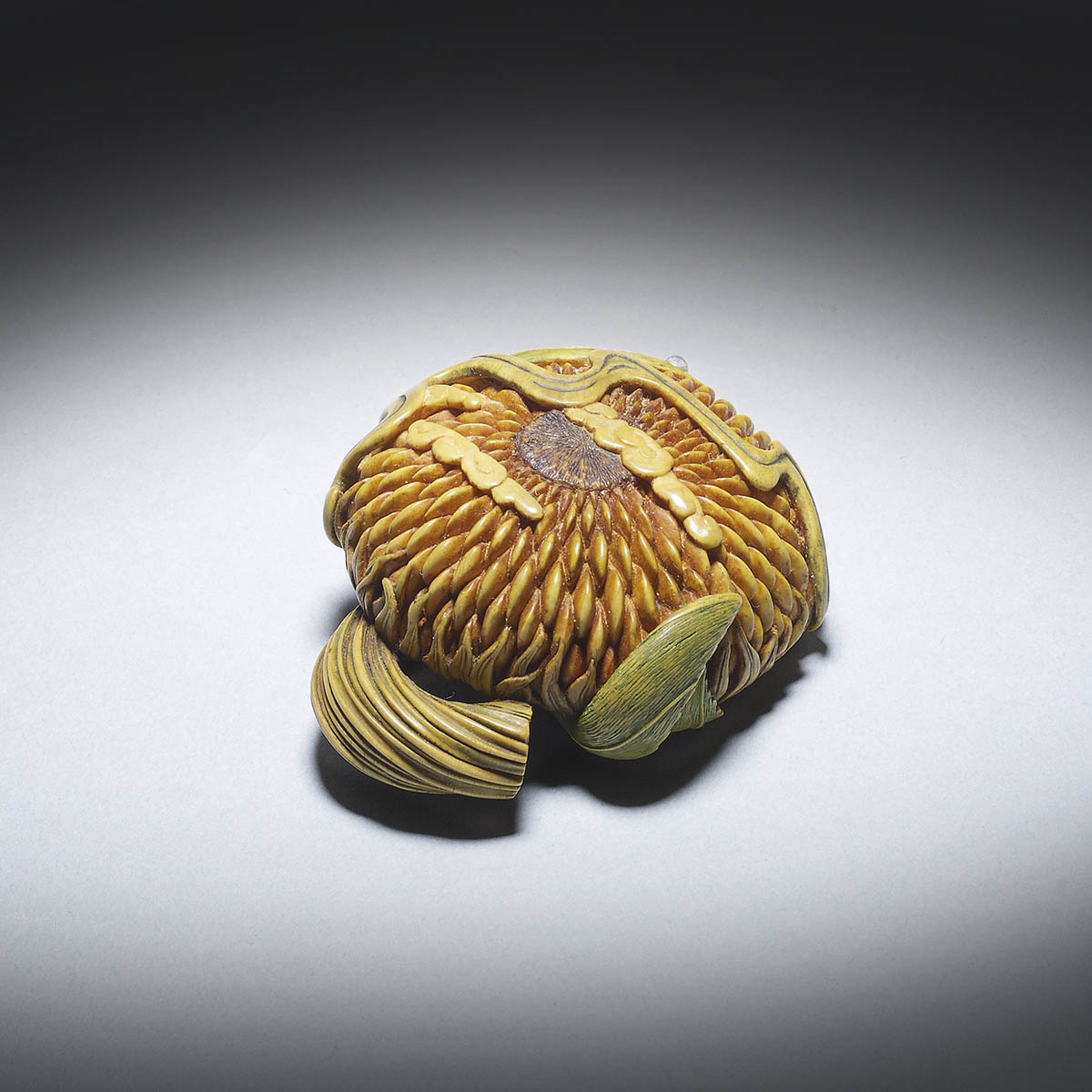 Guy Shaw, 'Arabesque', a boxwood netsuke of a sunflower