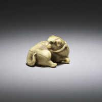 Ivory netsuke of a dog