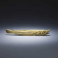 Ivory sashi netsuke of a dried salmon